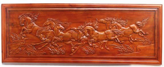 木雕壁画八骏图