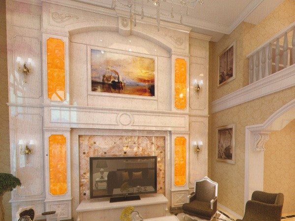 玉石整体电视背景墙_达州电视墙